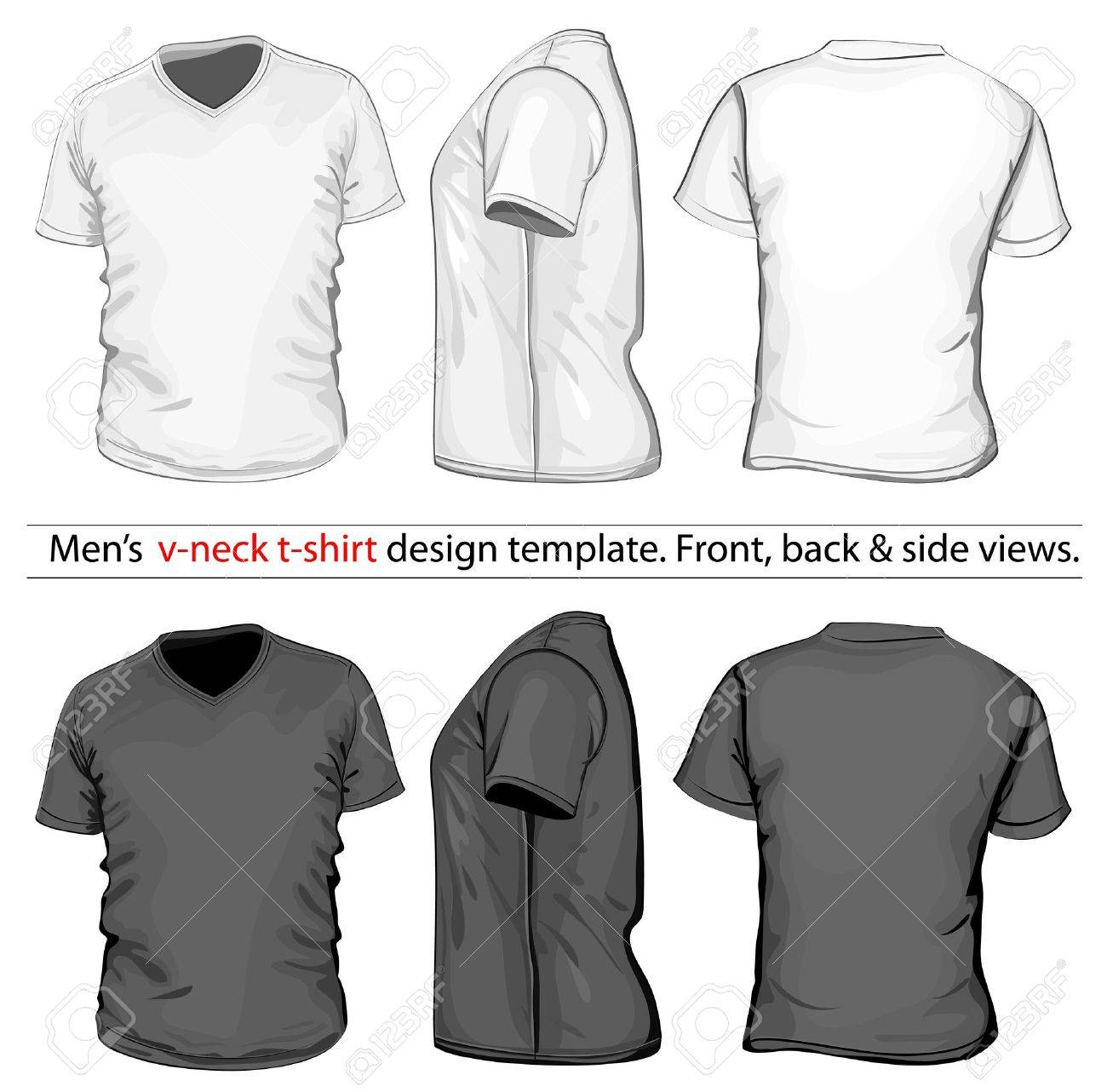 Vector. Men's V-neck t-shirt design template (front, back and side view). Stock Vector - 13255856