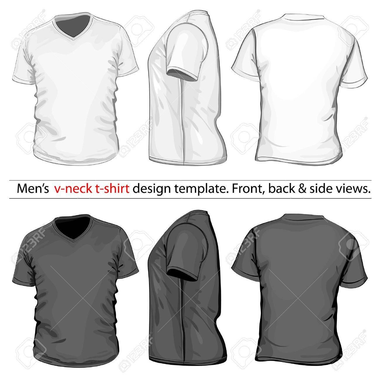 Mens V Neck T Shirt Design Template Front Back And
