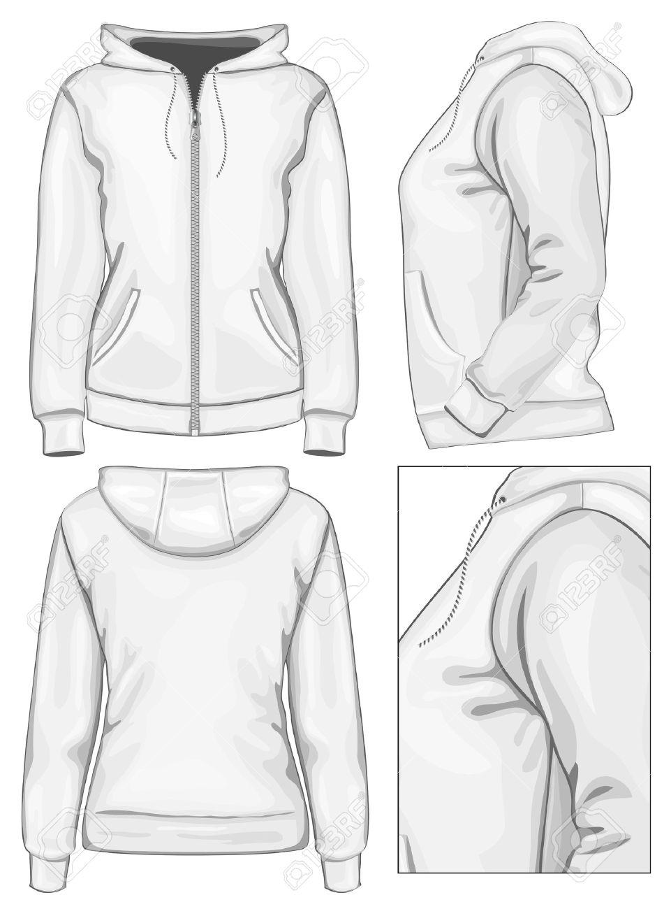 Vector. Damen-Kapuzenpulli Mit Reißverschluss (Rücken, Vorder-und ...