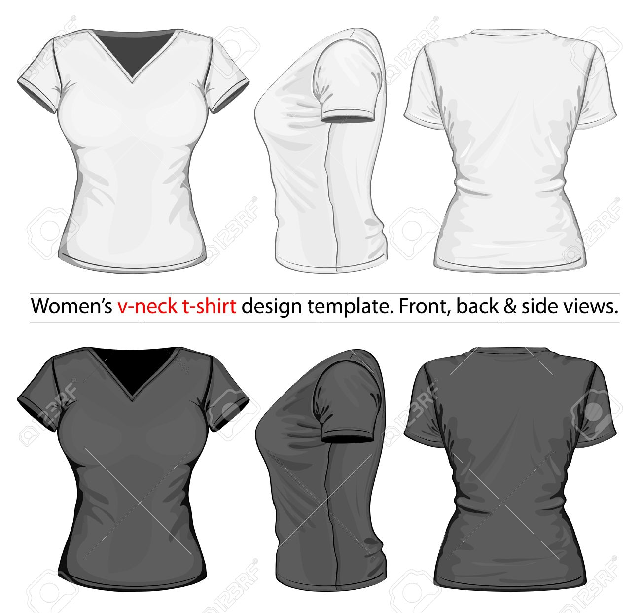 Black t shirt vector front and back - Vector Women S V Neck T Shirt Design Template Front Back And