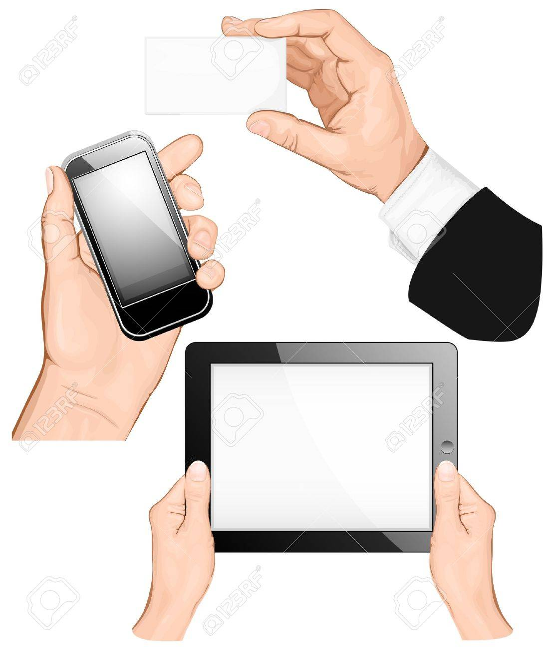 Set of hands holding business card, pc tablet,  mobilephone. vector illustration Stock Vector - 13255861