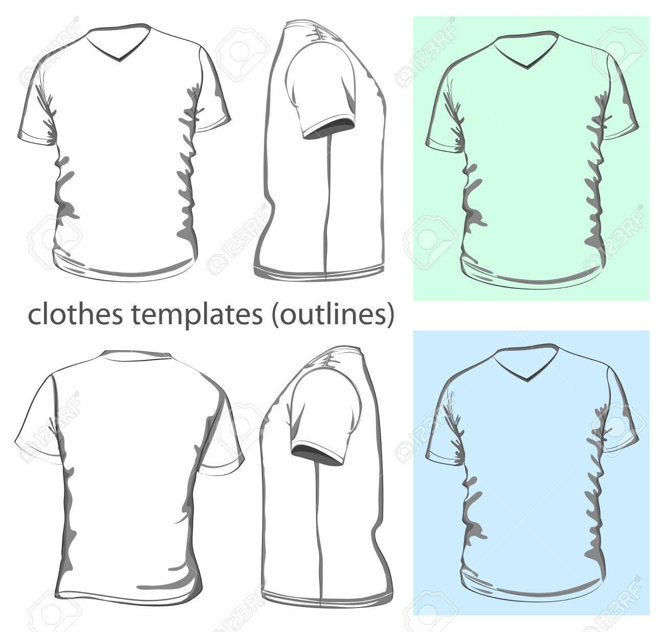 Design shirt v neck - Men S T Shirt Design Template V Neck Front Back And
