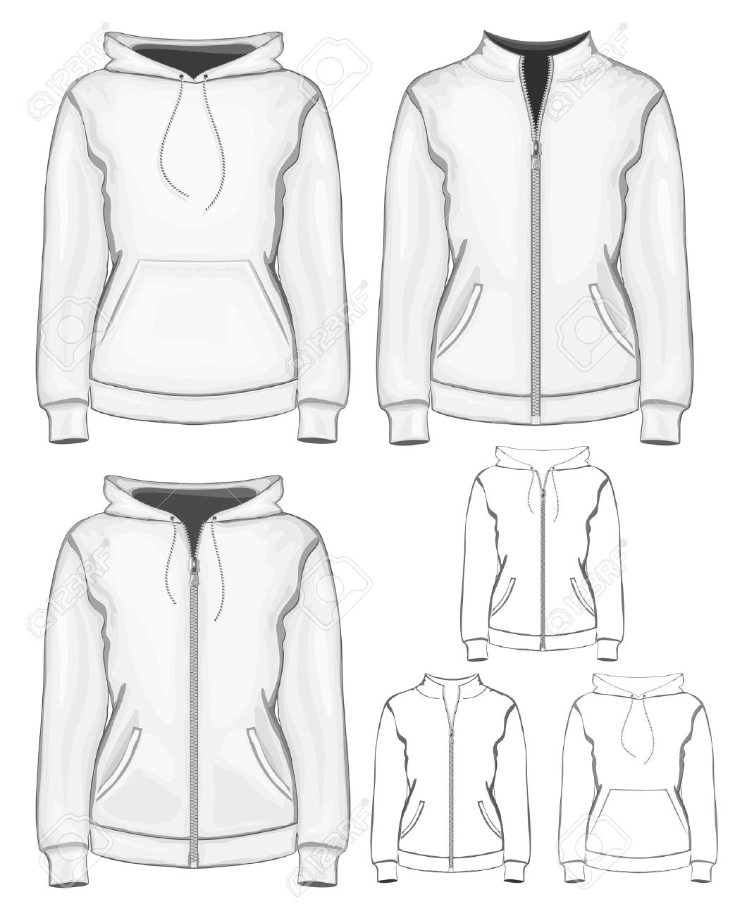Vector Woman Sweatshirt (hoodie) Design Template. Royalty Free ...