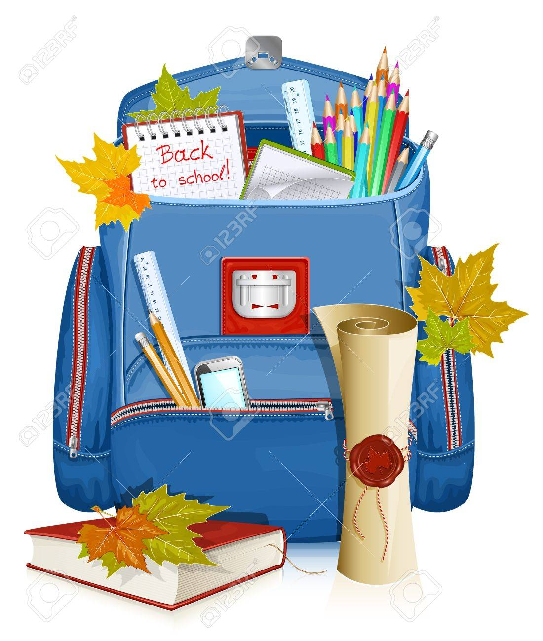 Back to school! Vector illustration of school bag with education objects Stock Vector - 15515561
