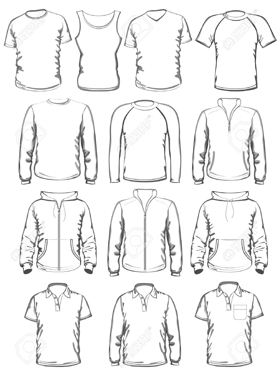 Collection Of Men Clothes Outline Templates Royalty Free Cliparts ...
