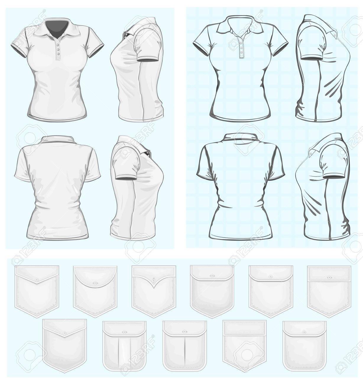 Mujeres Camiseta Polo Shirts Plantillas De Diseño Ilustraciones ...