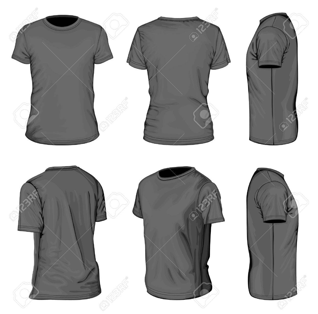 Black t shirt design template - Men S Black Short Sleeve T Shirt Design Templates Stock Vector 19883909