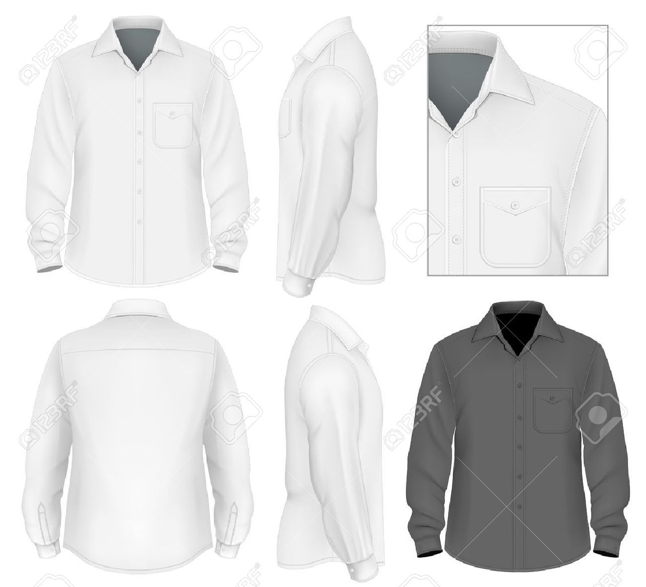 Mens Button Down Shirt Long Sleeve Design Template Royalty Free