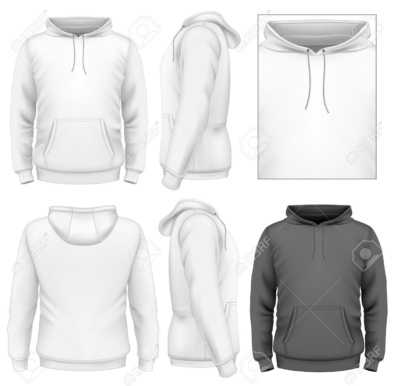 Herren Hoodie Design-Vorlage (Vorderansicht, Rücken-und ...