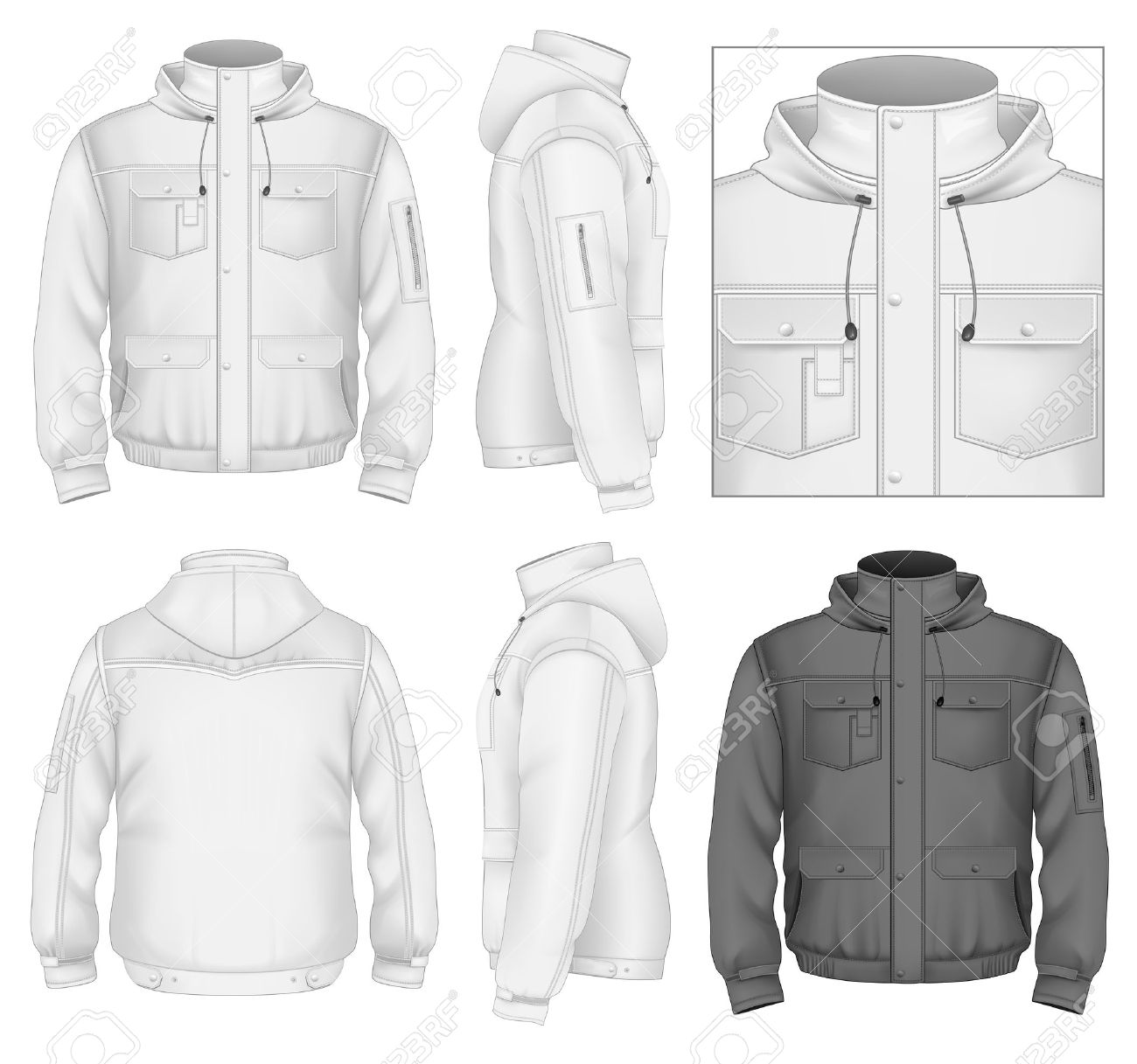 Mens Flight Jacket With Hood Design Template Front View Back And Side Views