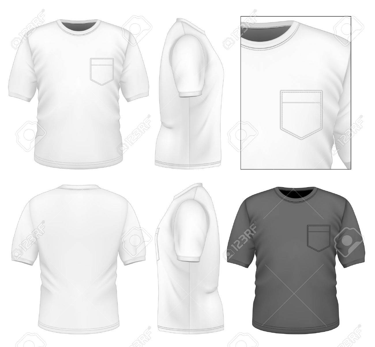 White t shirt front and back template - Photo Realistic Vector Illustration Men S T Shirt Design Template Front View