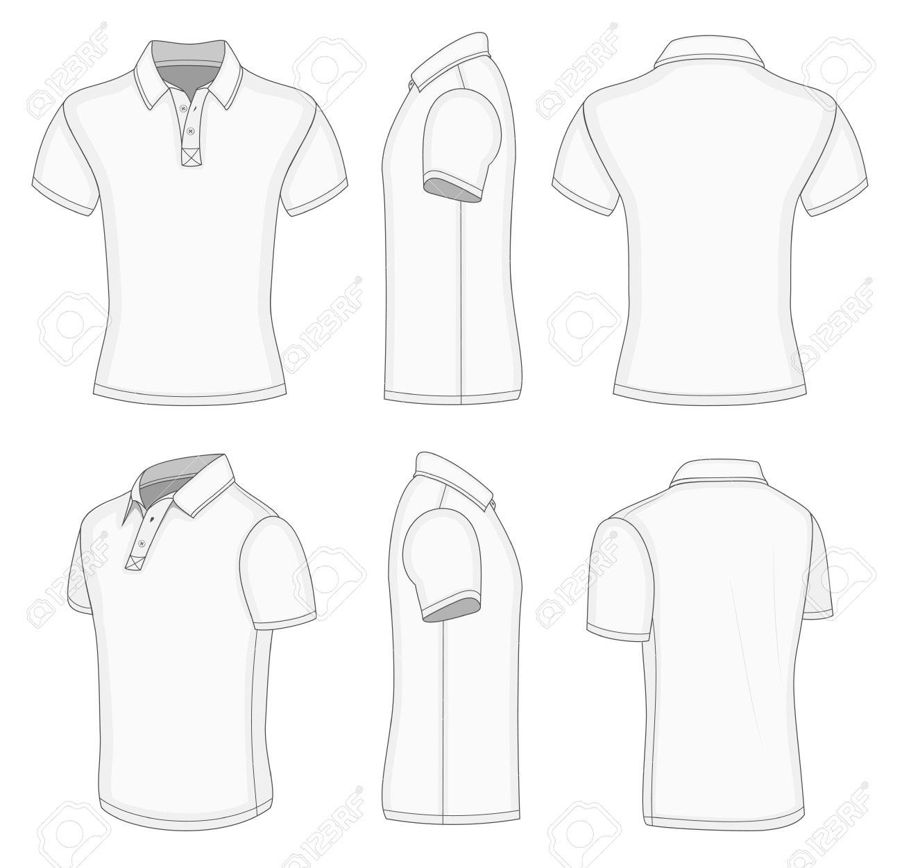 Shirt design white - Polo Shirt Mens White Short Sleeve Polo Shirt Design Templates Front Back