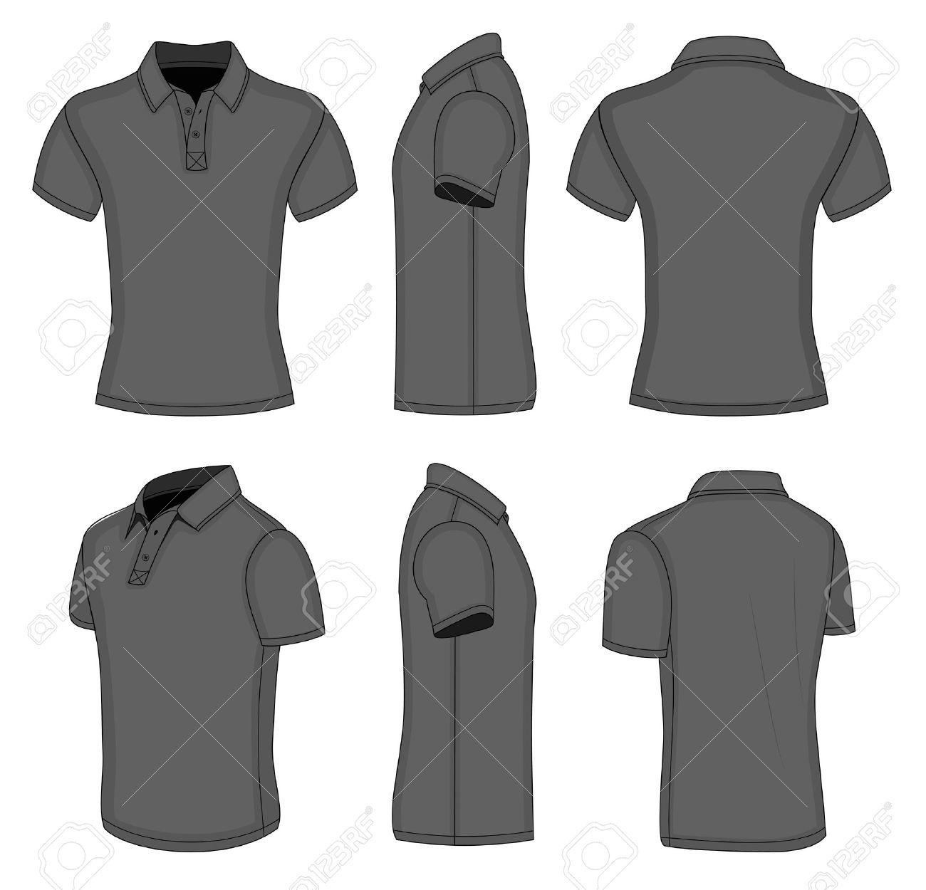 Foto de archivo - Polo de manga corta de plantillas de diseño camiseta  negra de los hombres 9aa32516c211d