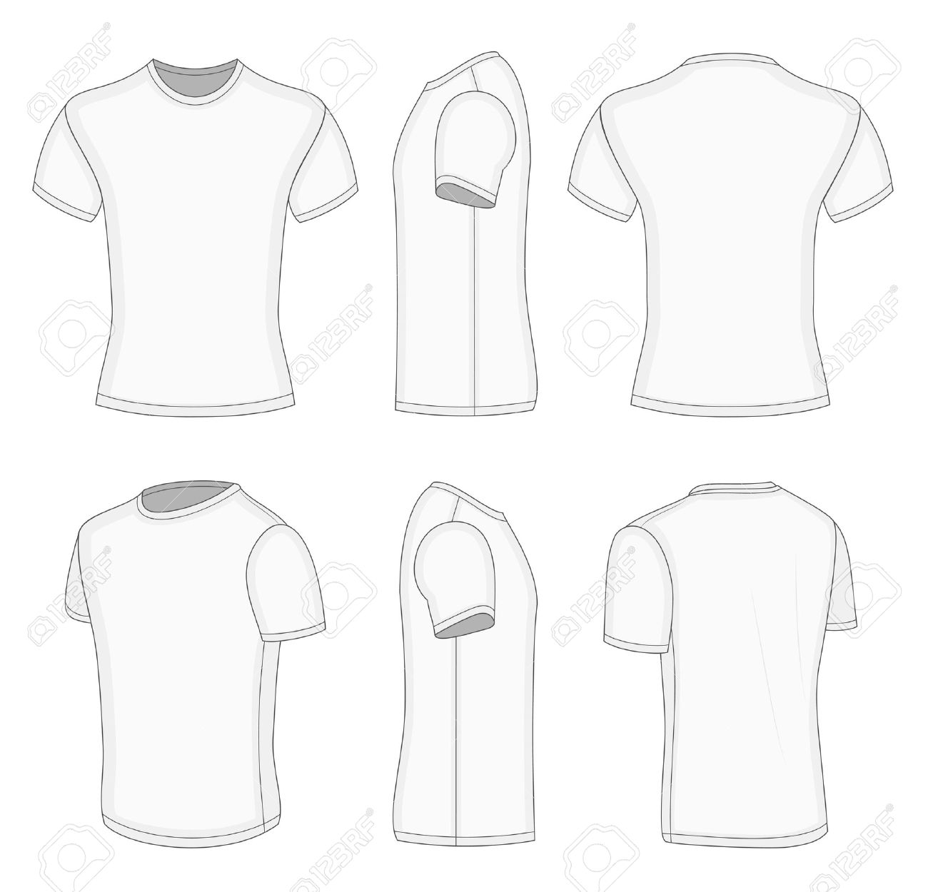 Mens White Short Sleeve T Shirt Design Templates Front Back Half