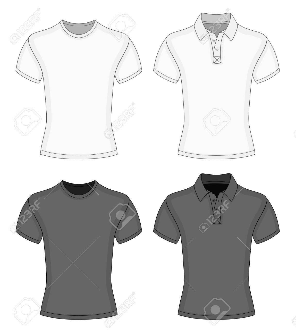 Shirt design black - Men S White And Black Short Sleeve T Shirt And Polo Shirt Design Templates Stock