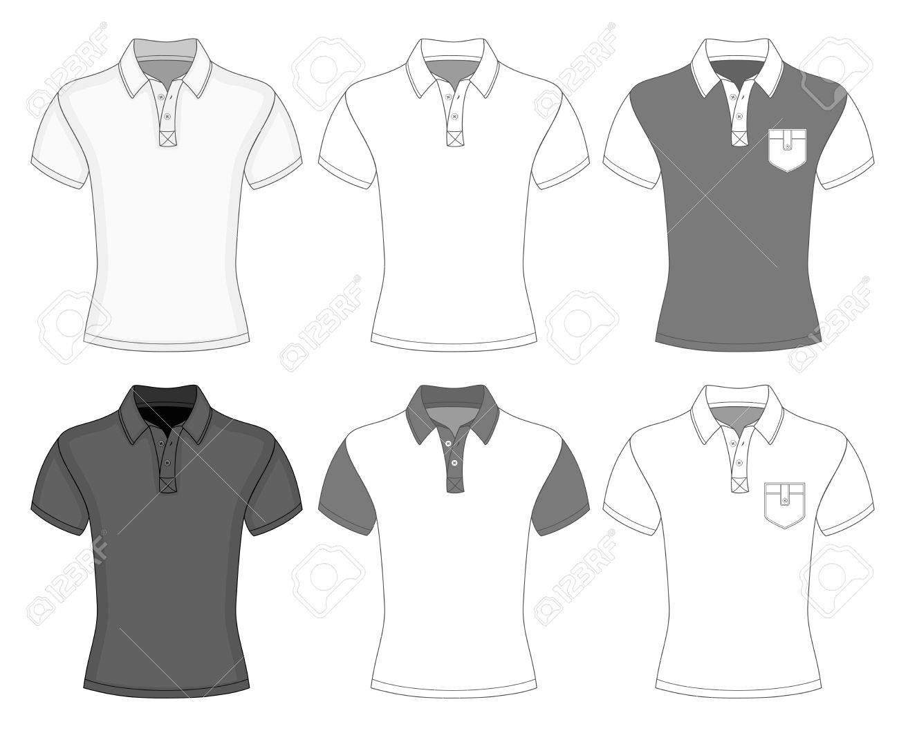 Polo shirt design vector - Men S Short Sleeve Polo Shirt Design Templates Front View Stock Vector 26038687