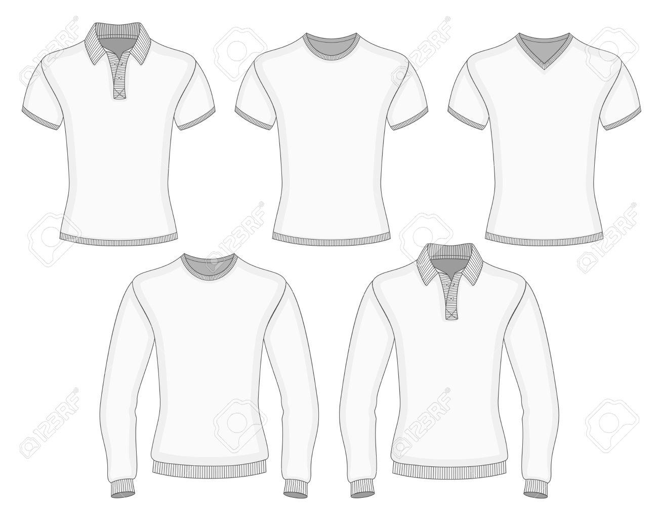Courte Et Longue Douille Polo Des Hommes Et T-shirt De Modèles De  Conception (vue De Face). Vector Illustration. Pas De Maillage. e64c7b7e7493