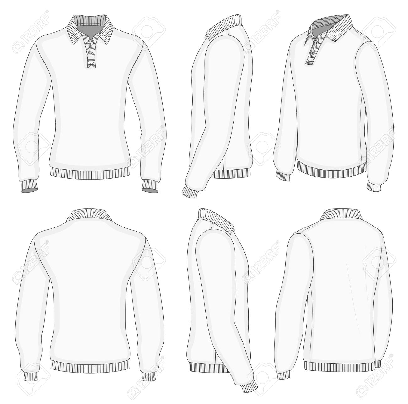 all views men s white long sleeve polo shirt design templates