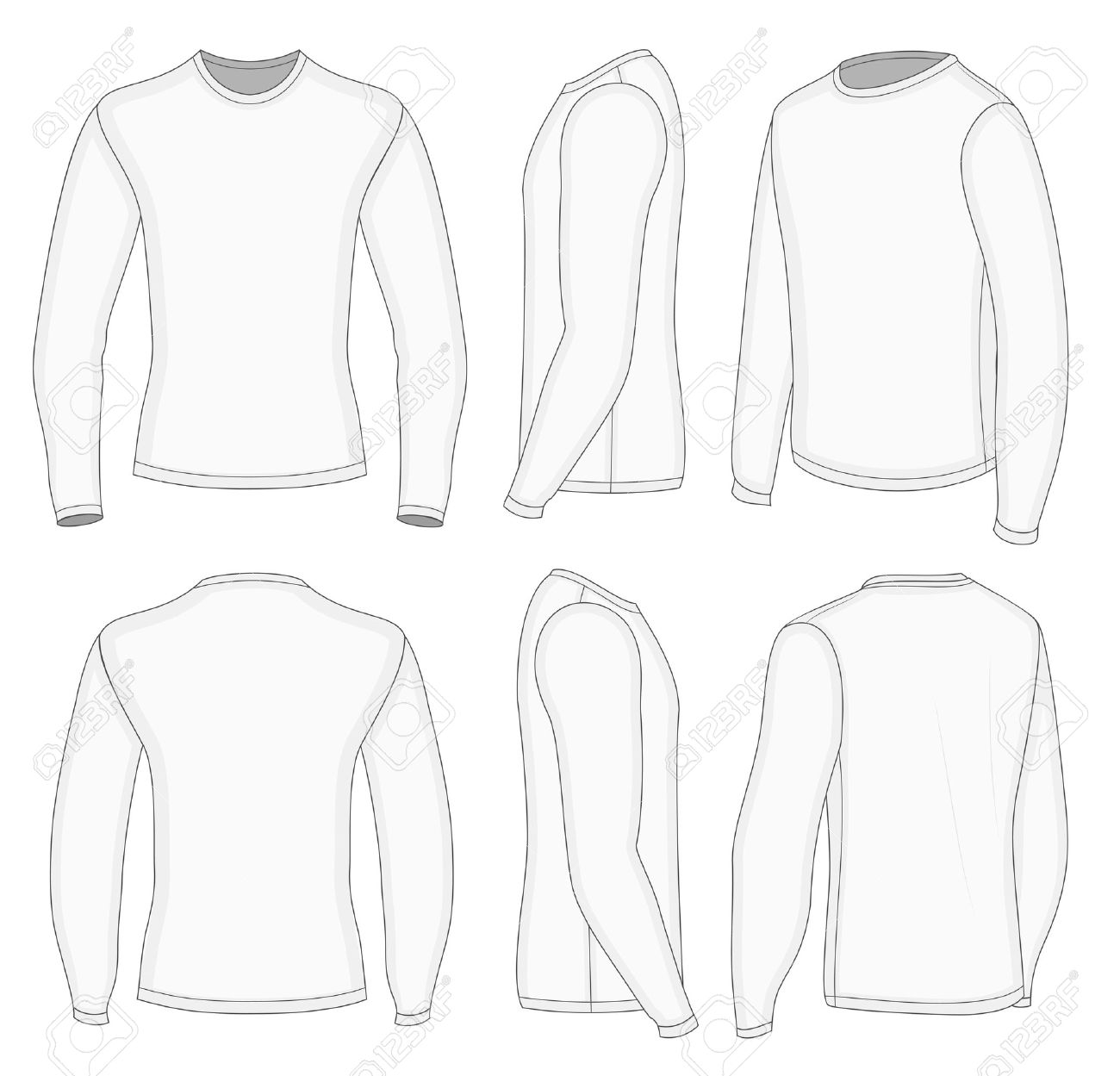 All Six Views Men's White Long Sleeve T-shirt Design Templates ...