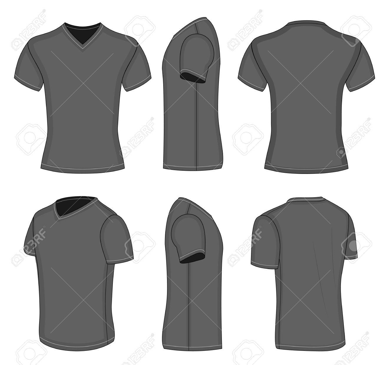 3b7d1b11c All views men's black short sleeve t-shirt v-neck design templates (front