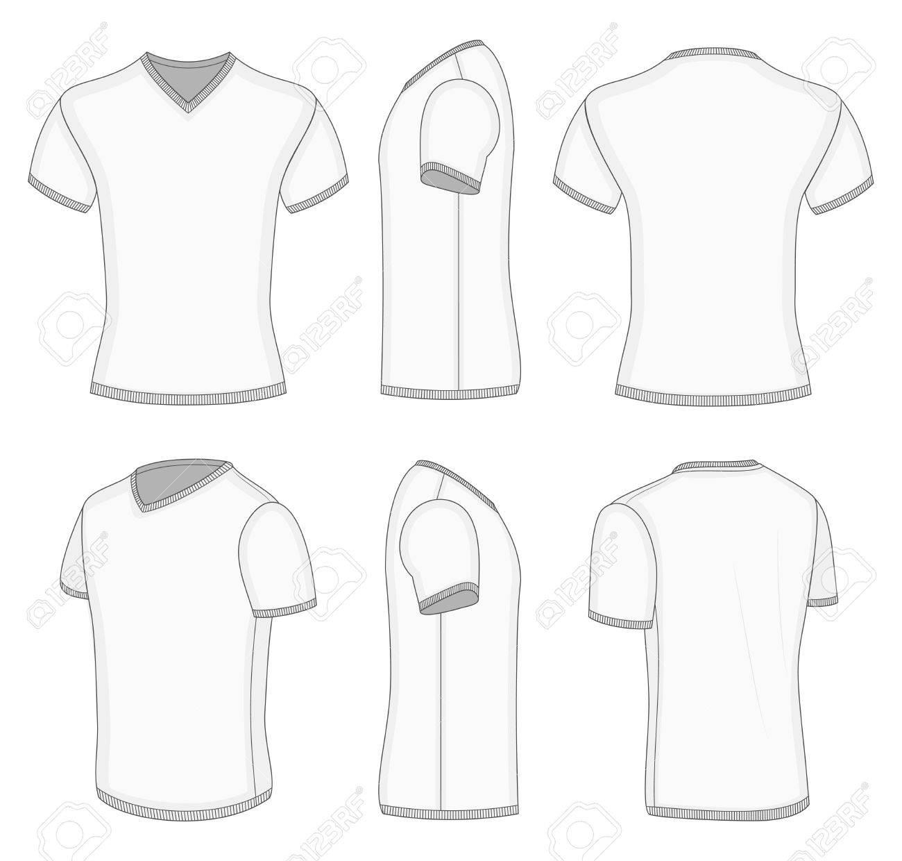 Alle Ansichten Weißer Herren Kurzarm-T-Shirt Mit V-Ausschnitt-Design ...