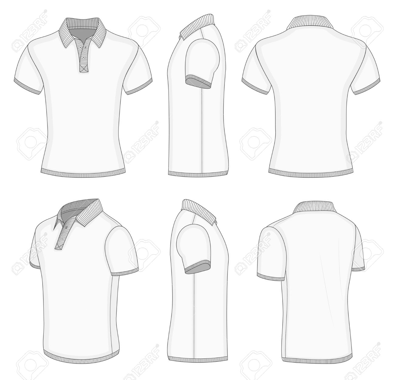 All Views Mens White Short Sleeve Polo Shirt Design Templates Front Back Half