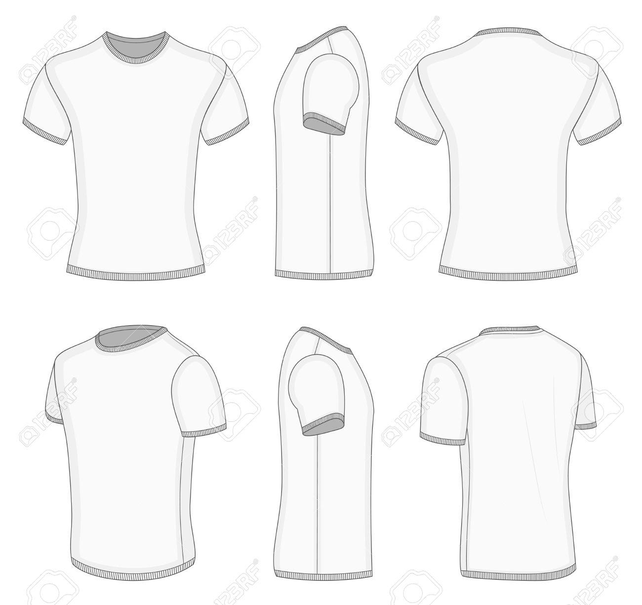 All Six Views Mens White Short Sleeve Tshirt Design Templates - Tee shirt design template