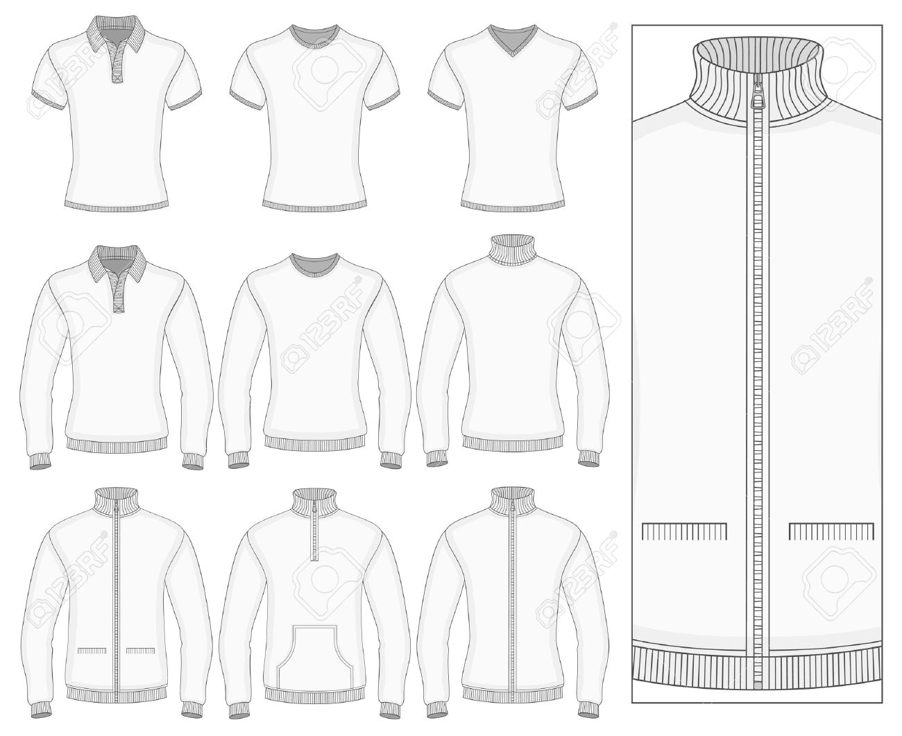 Men\'s short and long sleeve clothes templates (front view). Vector..