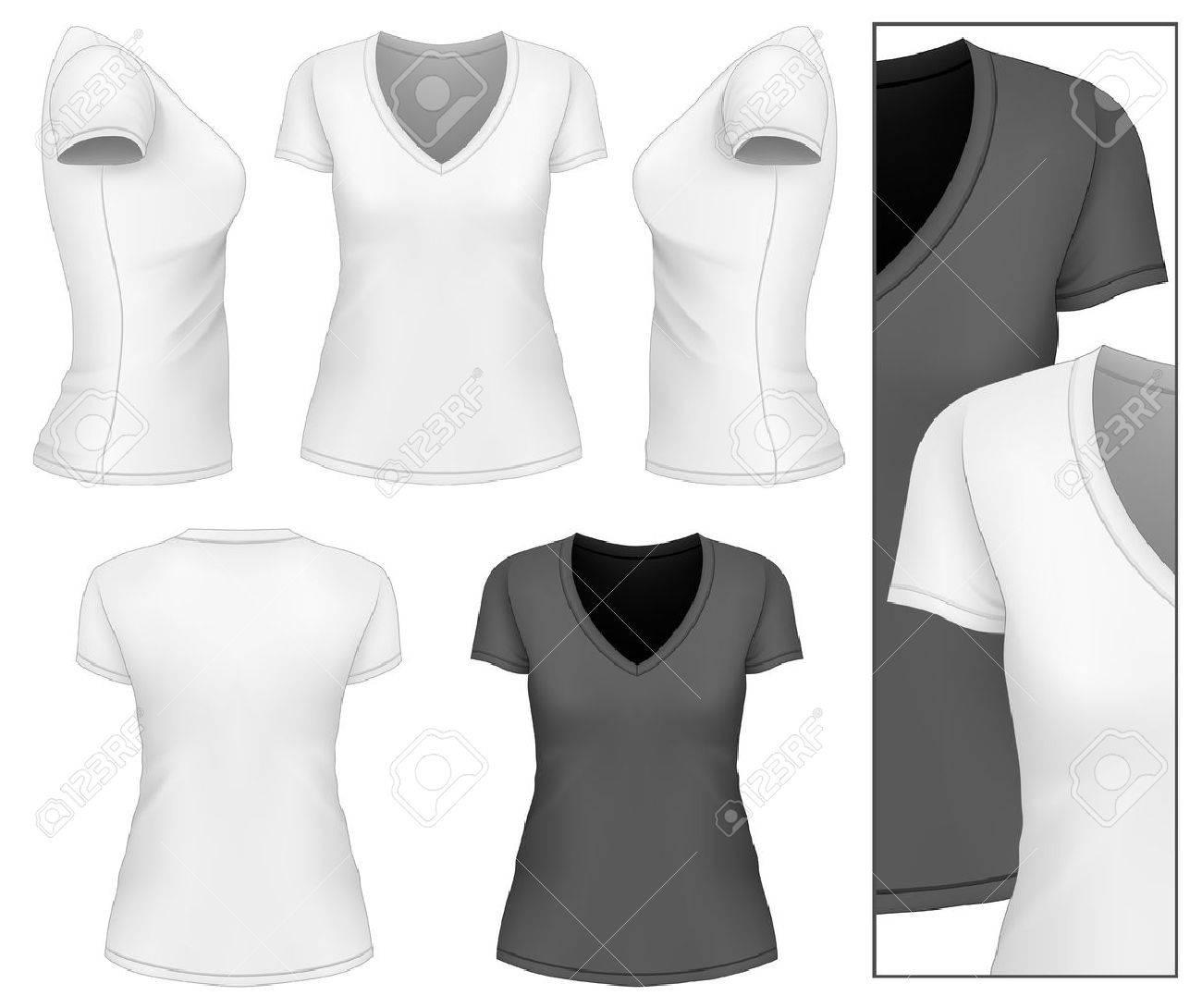 Women\'s V-neck T-shirt Design Template. Vector Illustration. Royalty ...