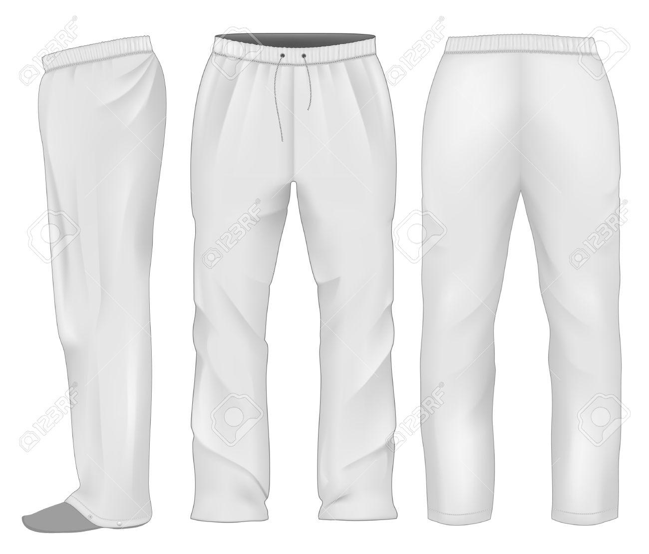 Hombres Pantalones De Chandal Blanco Ilustraciones Vectoriales Clip Art Vectorizado Libre De Derechos Image 36005818