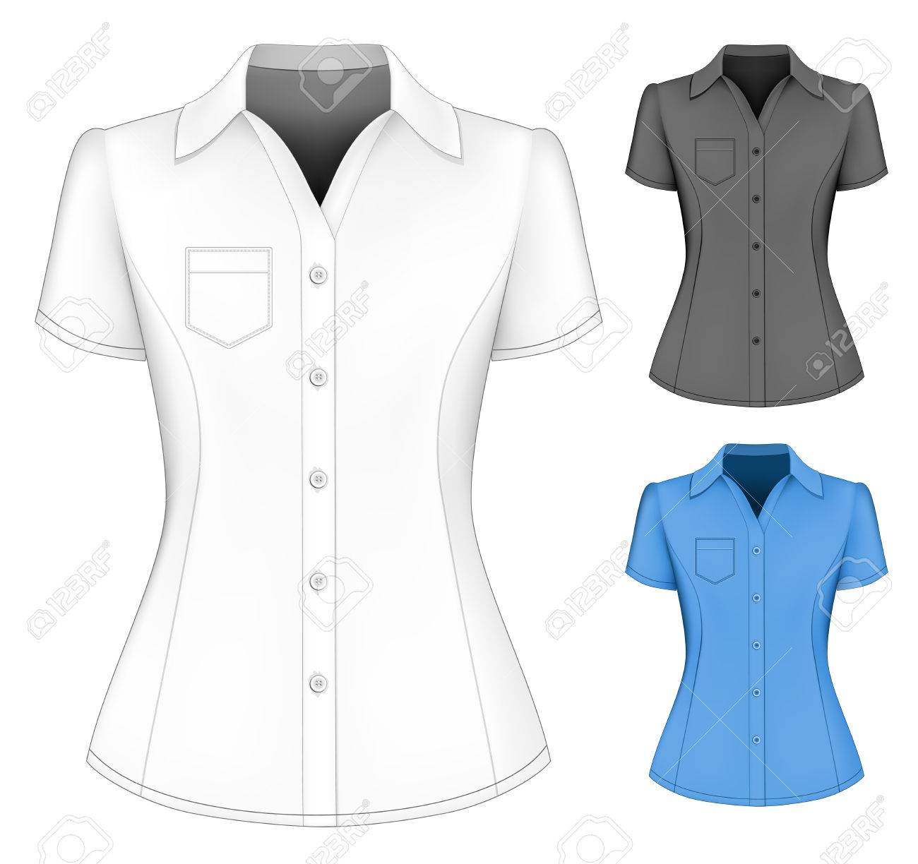83ee657018ac2a Formal Short Sleeved Blouses For Lady. Royalty Free Cliparts ...