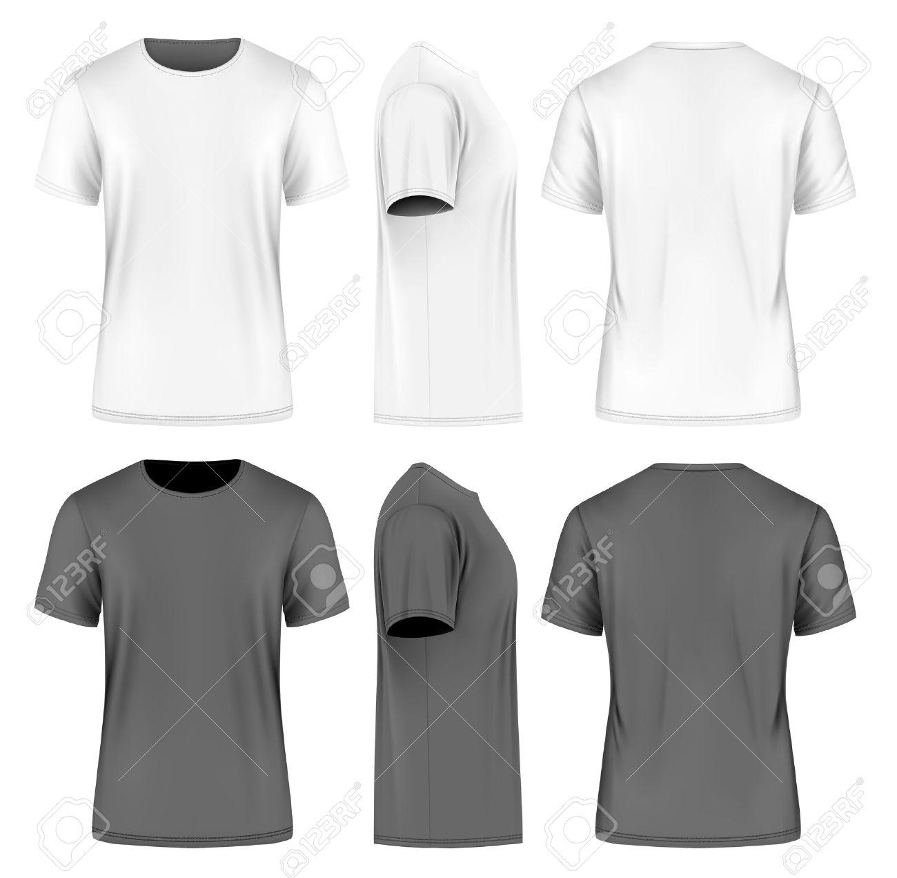 Men short sleeve t-shirt . Front, side and back views. Vector illustration. Fully editable handmade mesh. Black and white variants. - 52421410