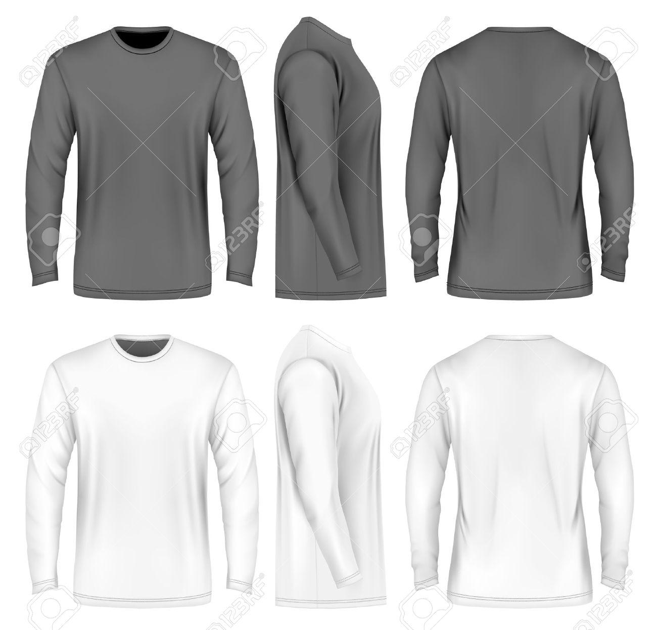 Men long sleeve t-shirt . Front, side and back views. Vector illustration. Fully editable handmade mesh. Black and white variants. - 52421470