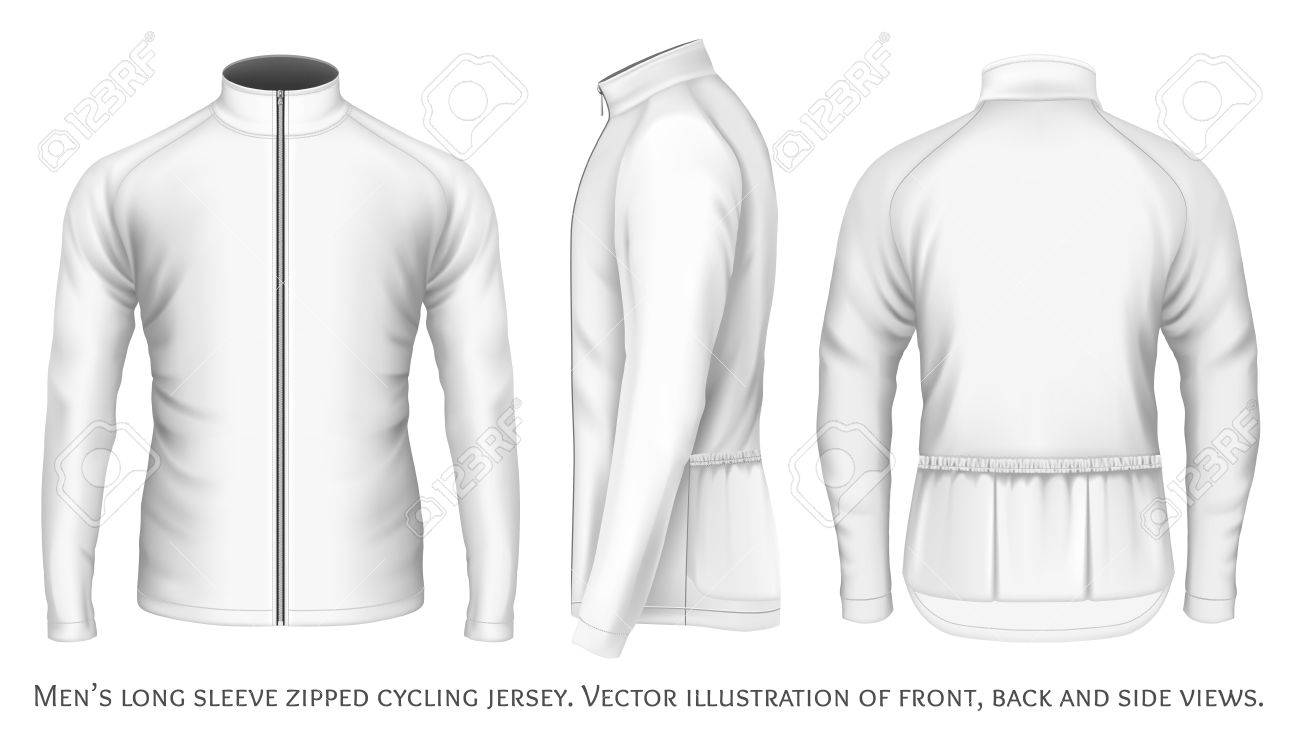 Long sleeve cycling jersey for men. Fully editable handmade mesh. Vector  illustration. Stock d105a67f5