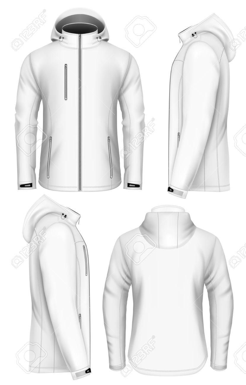 Men softshell jacket with hood design template. Fully editable handmade mesh. Vector illustration. - 60673596
