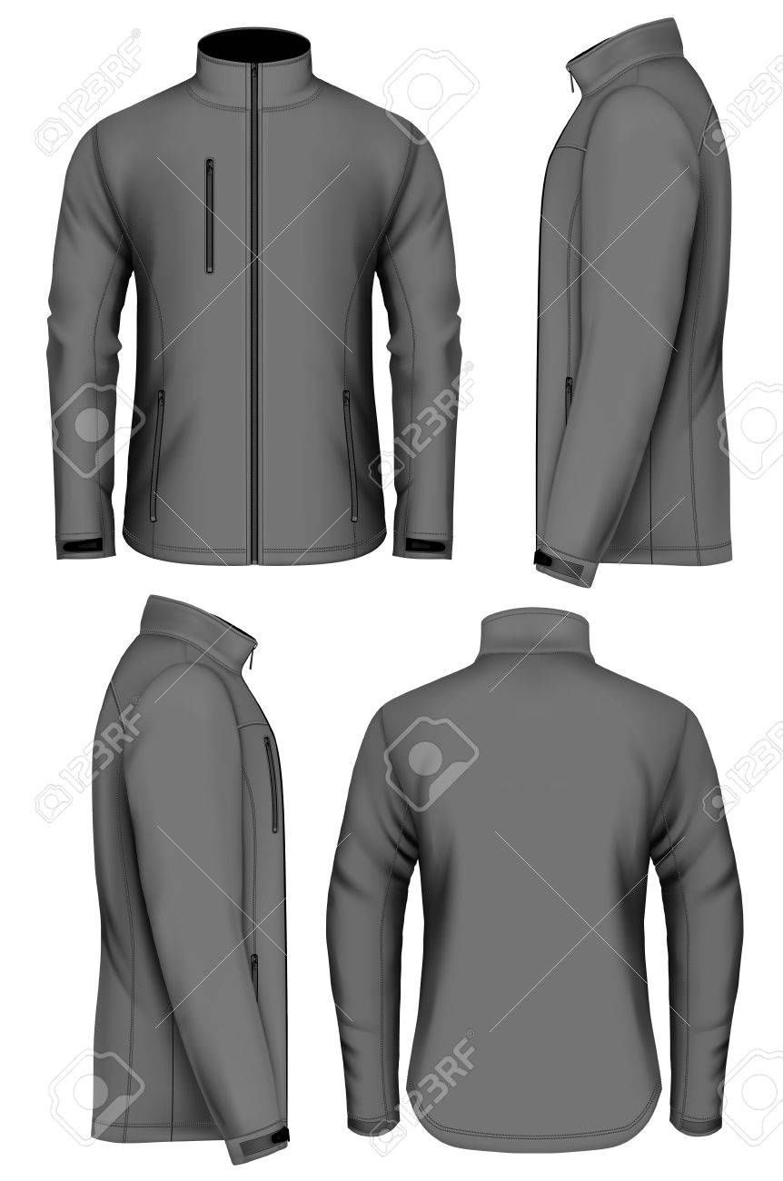 Men softshell jacket design template. Fully editable handmade mesh. Vector illustration. - 59309792