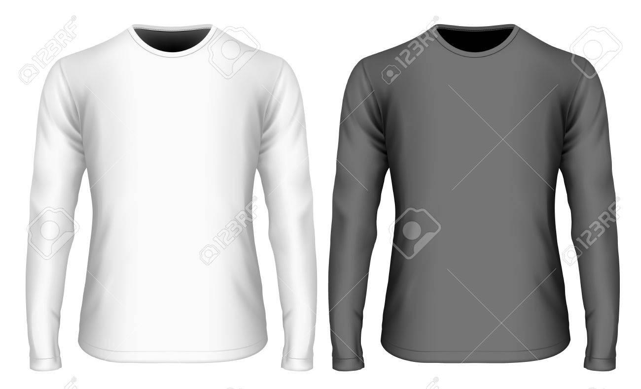 Camiseta manga larga en blanco y negro para hombre (vista frontal).  Ilustración vectorial 80a4d2c00cf