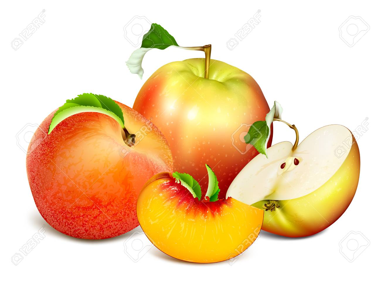 ripe fresh fruits apples and peaches fully editable handmade