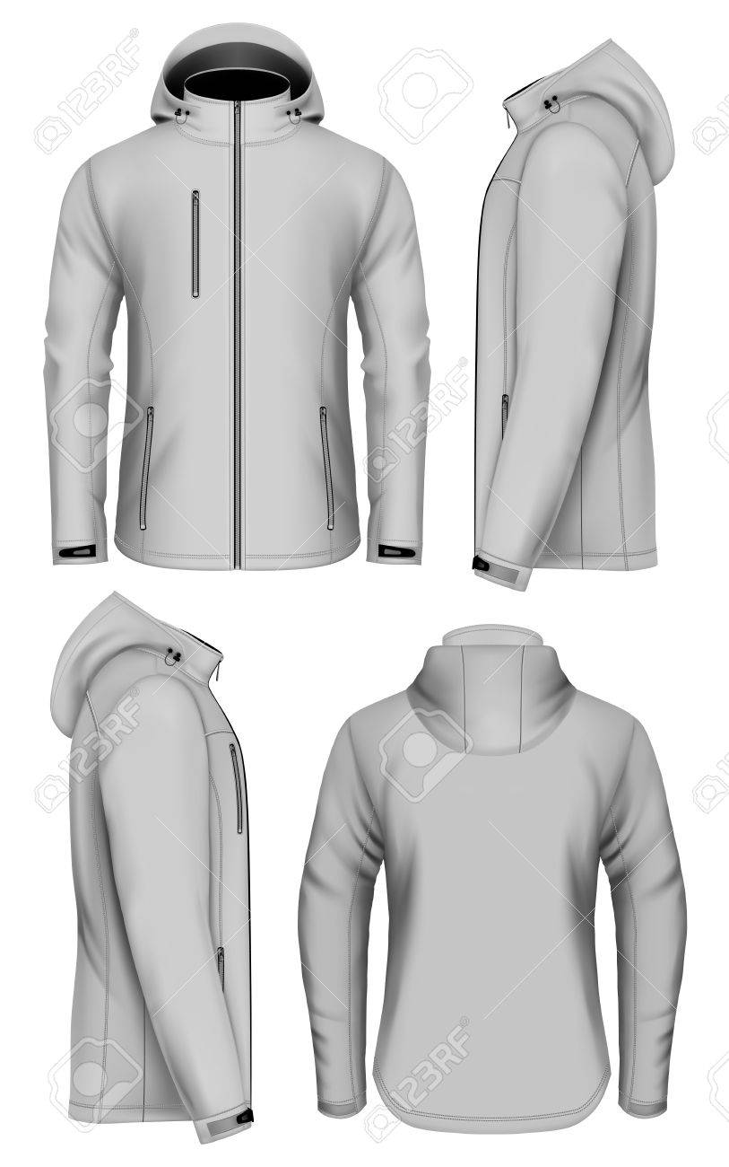 c938f6df925e8 Men softshell jacket with hood. Vector illustration of front, back and side  views.