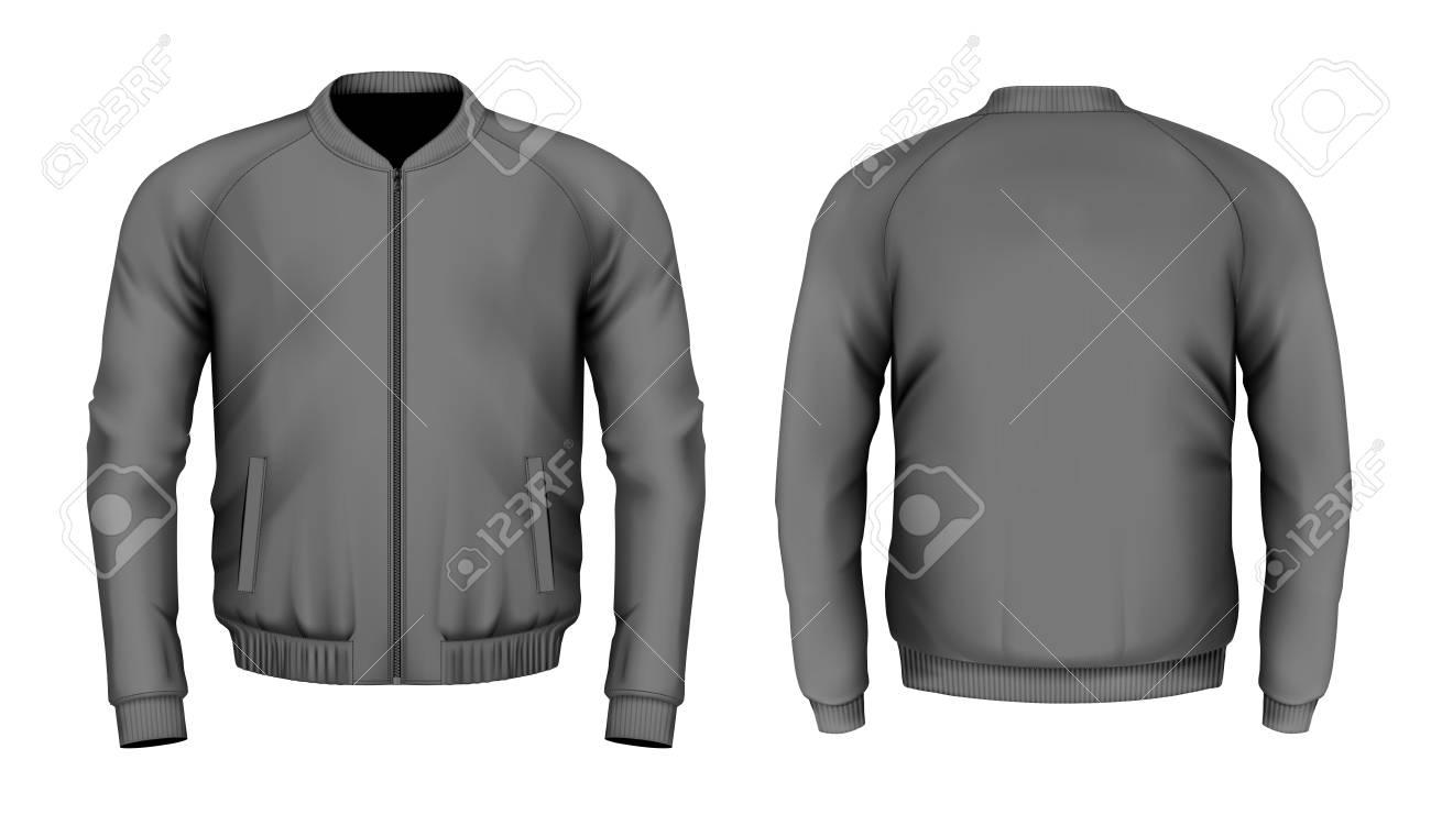 Bomber jacket in black. Front and back views. Vector illustration. - 95299819