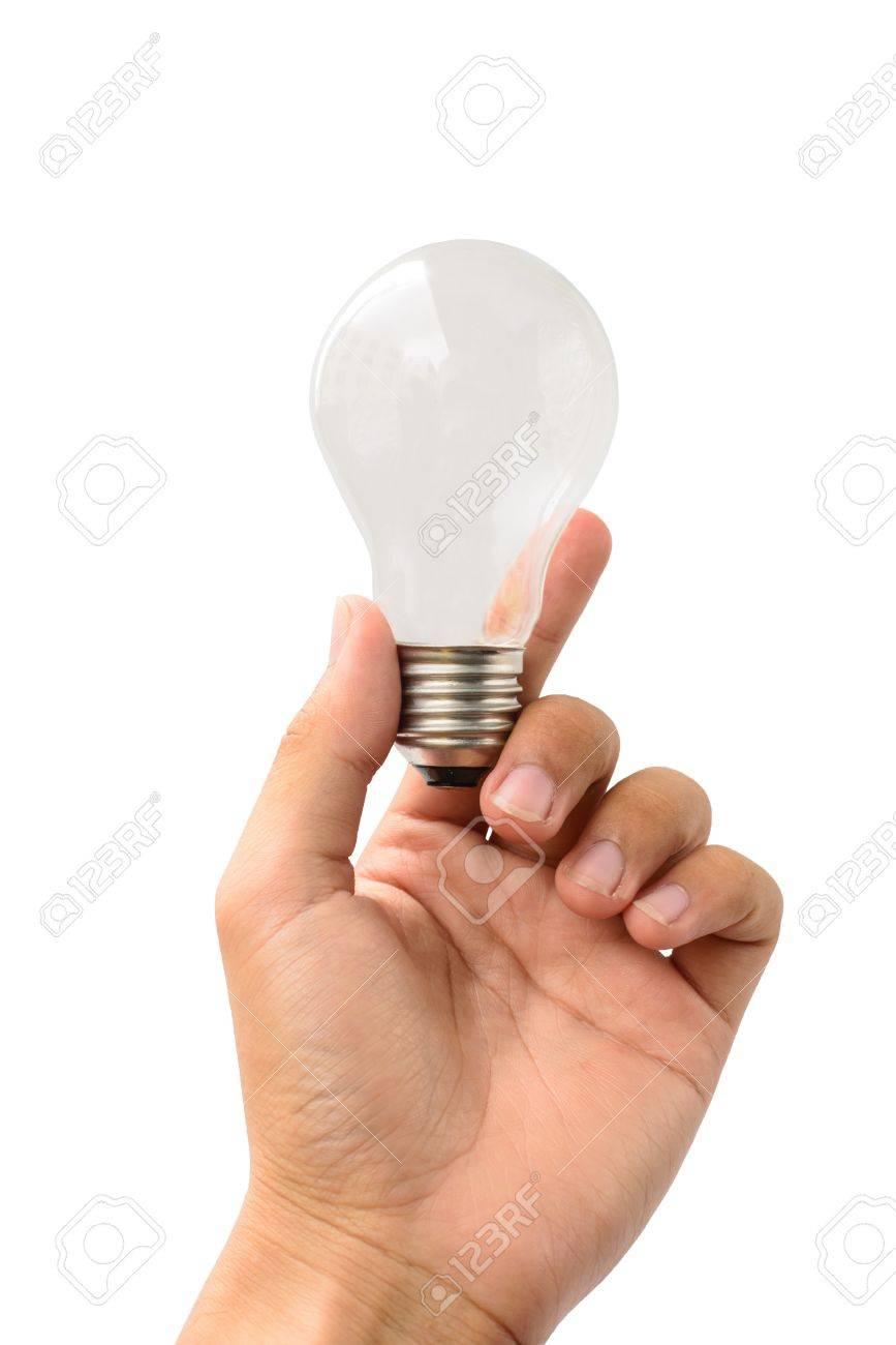 Halten Lampe Auf Weißen Hintergrund Isolieren Lizenzfreie Fotos ...