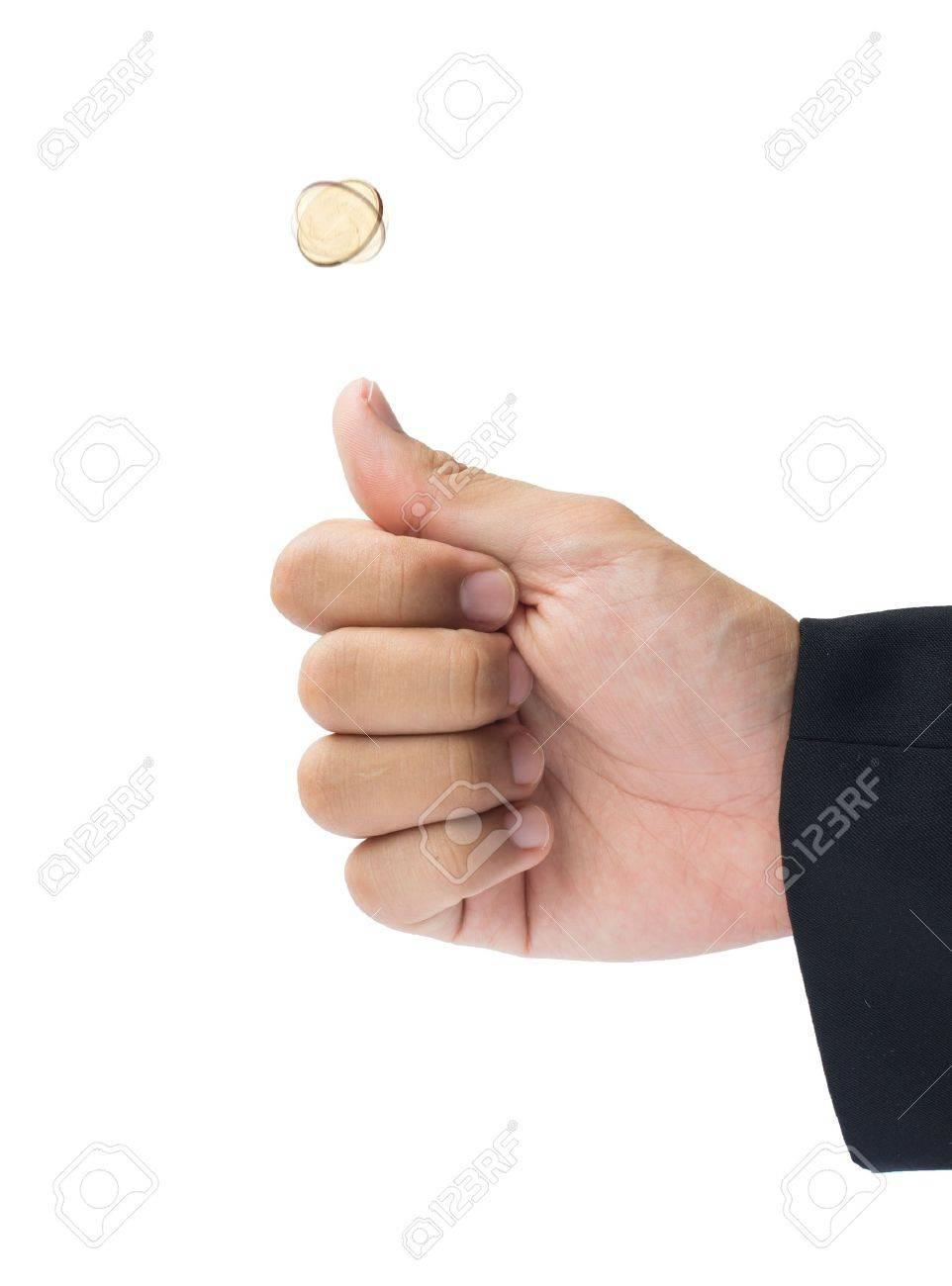 Wirf Eine Münze Auf Weißen Hintergrund Isolieren Lizenzfreie Fotos