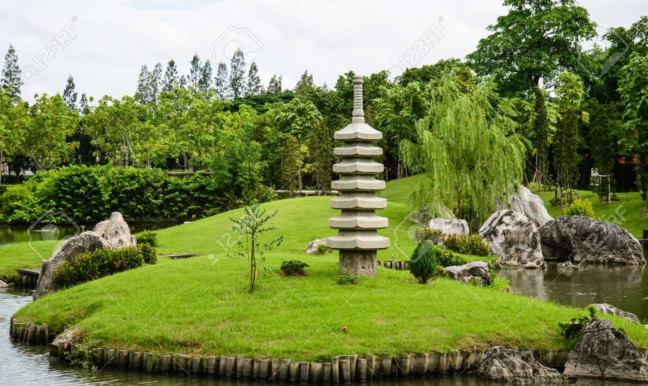 Rocaille avec étang, japon jardin