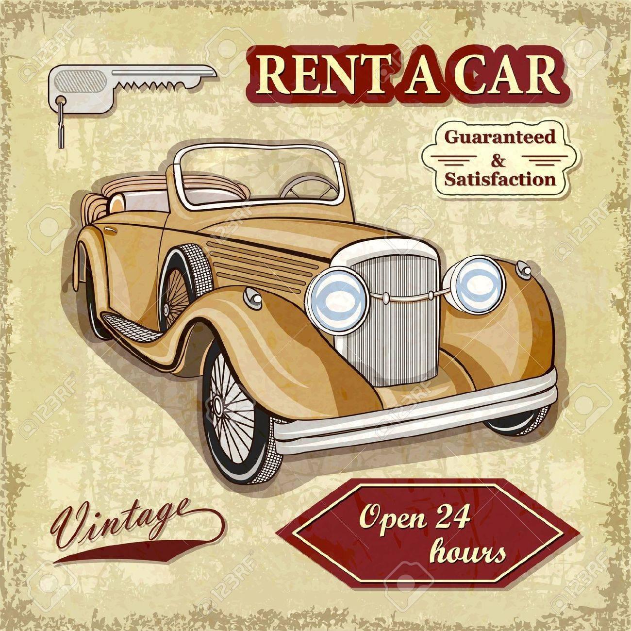 Car rentals retro poster Stock Vector - 19871986