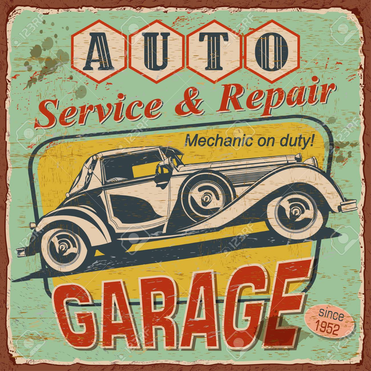 Vintage Auto Service Poster With Retro Car Illustration. Royalty ...