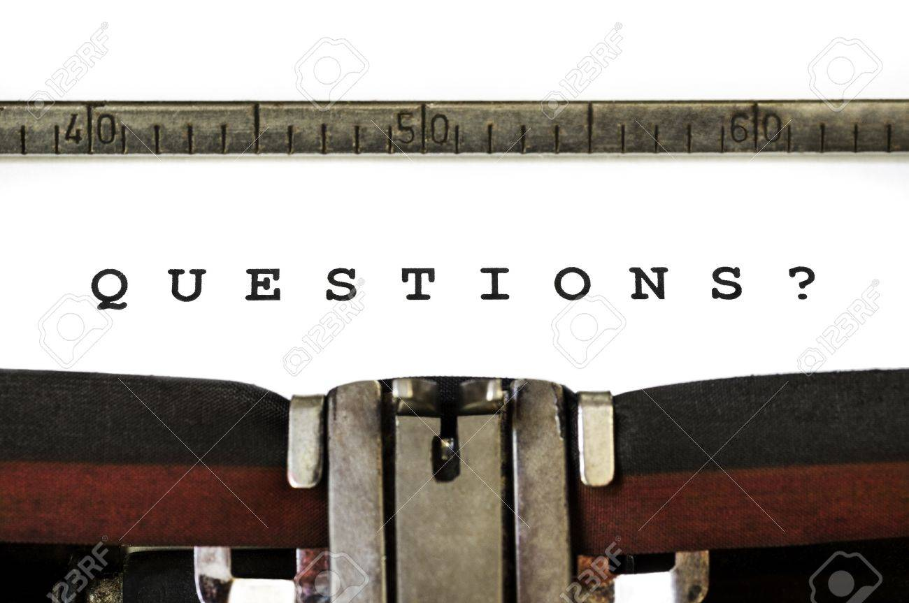 The word Questions? printed on an old typewriter - 11966508