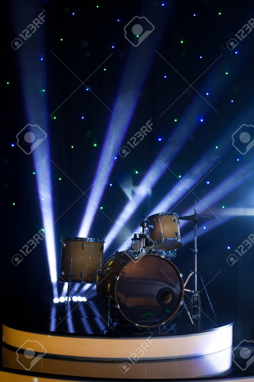 Modern Drum Set On Stage In The Spotlight Color Prepared For Stock