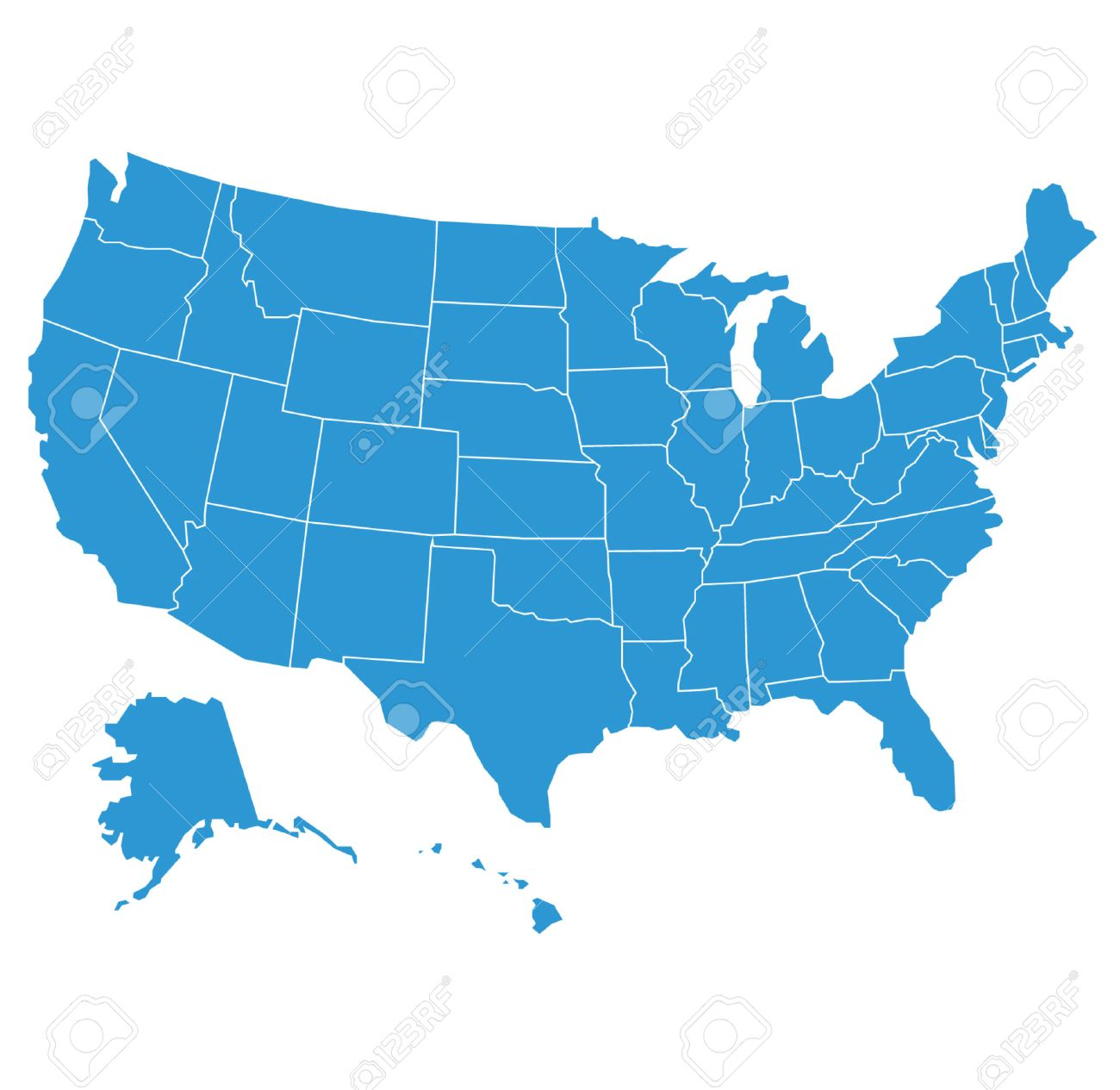 United States Of America Map Illustration Royalty Free Cliparts - Maine on map of usa