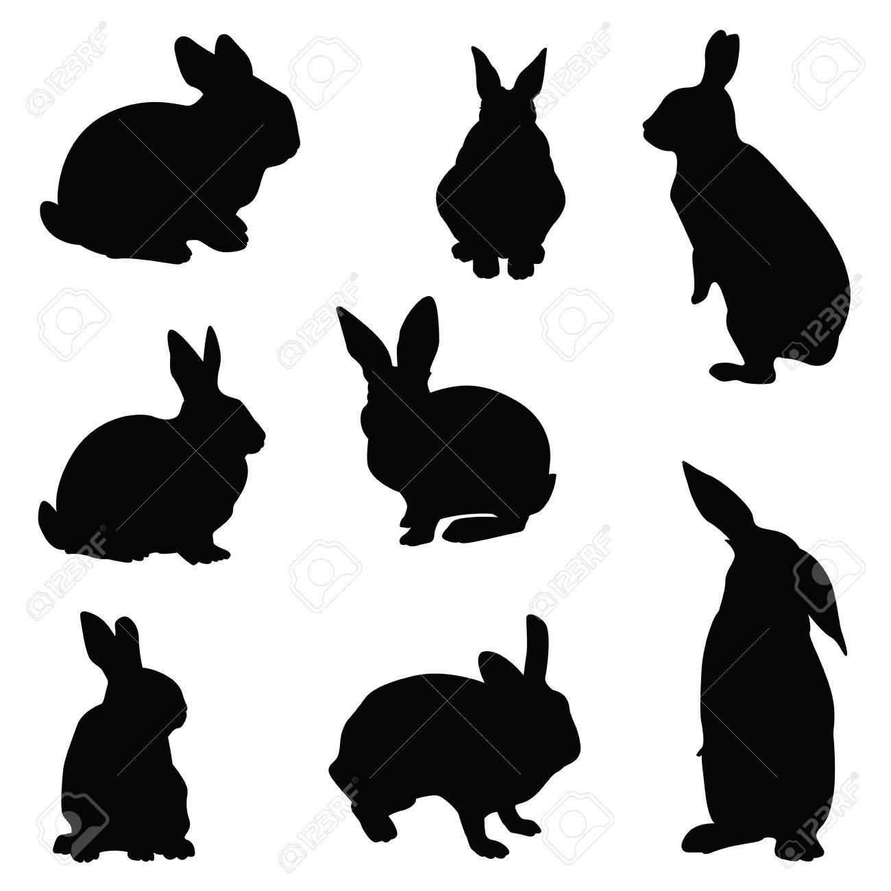 ウサギのシルエットのイラスト セット ロイヤリティフリークリップアート