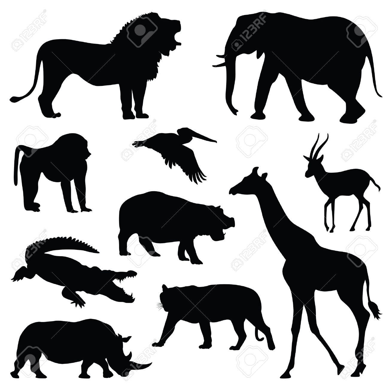 サファリ動物のシルエット イラスト セット ロイヤリティフリークリップ